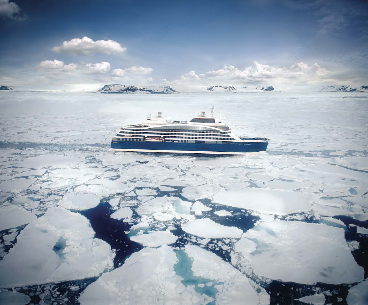 Small ship cruise line Ponant's flagship vessel Le Commandant Charcot prepares for an unforgettable northern summer Arctic cruising season.
