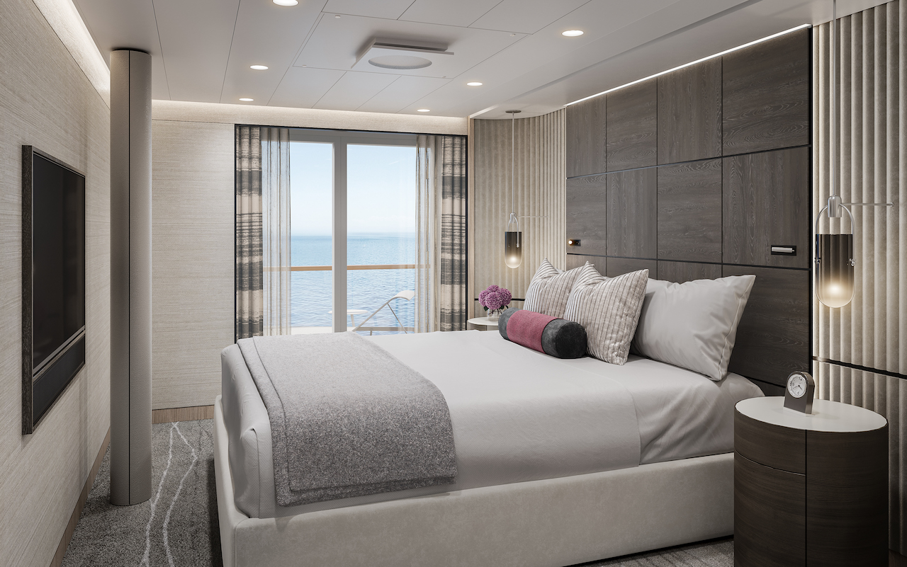 Oceania Cruises has given a tantalizing peek at the suites and staterooms of its newest vessel, Visa, which debuts in early 2023.